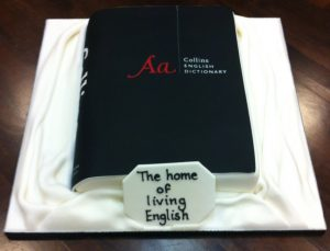 Dictionary-shaped cake